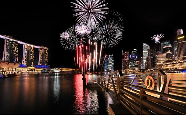 Fireworks at the water front promenade at Marina Bay Sands, Singapore