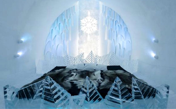 A bedroom at the Icehotel, Sweden