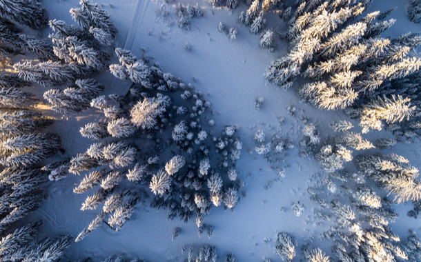 Aerial view of a mountain landscape in the winter