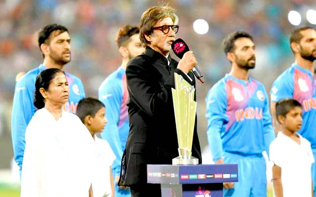 Amitabh Bachchan singing India's National Anthem at Eden Gardens, Kolkata