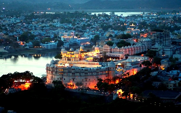 Evening view of City Palace, Udaipur