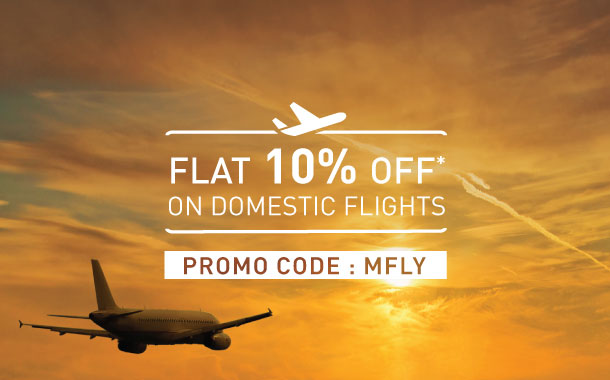 Get flat 10% off on domestic flights!