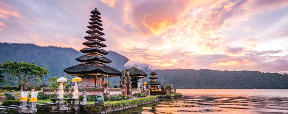 Hindu temple on Bratan lake in Bali