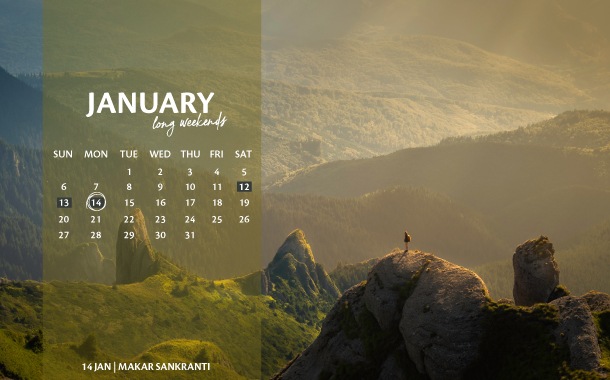 January Long Weekend Calendar, 2019
