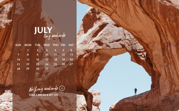 July Long Weekend Planner, 2019