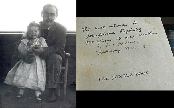 Jungle Book - Rudyard Kipling's first edition note to his daughter Josephine