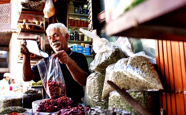 Man Selling Traditional Spices at Spice Souk In Dubai
