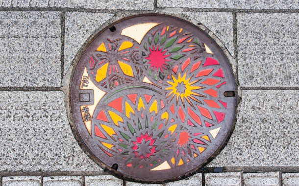 Manhole cover in Matsumoto city, Nagano, Japan