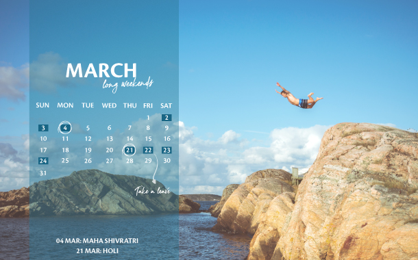 March Long Weekend Planner, 2019