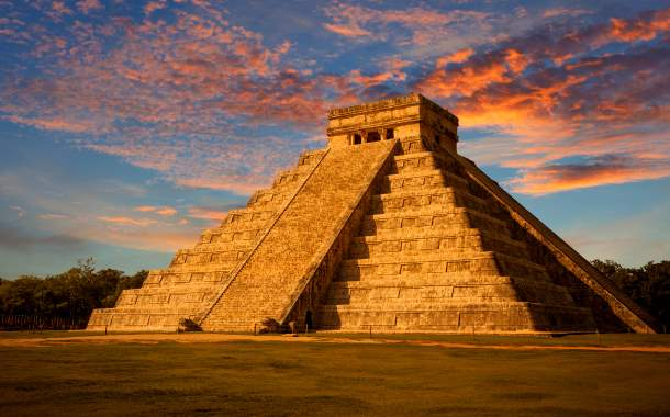 Mesoamerican step-pyramid, Mexico