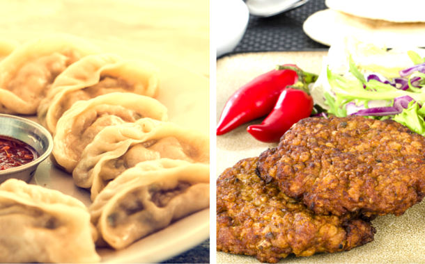 Momos and Shami Kebab