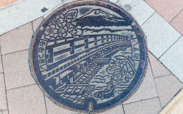 Mount Fuji on Japanese manhole cover