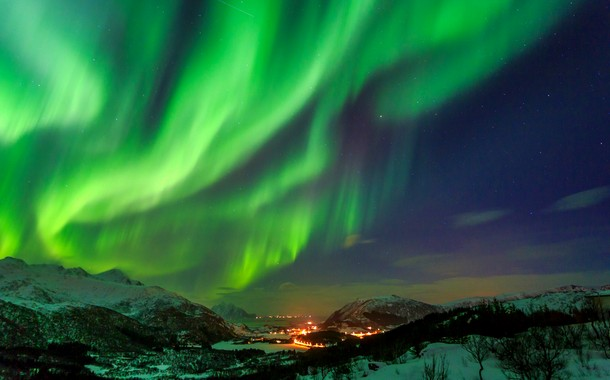Northern Lights over a beautiful village