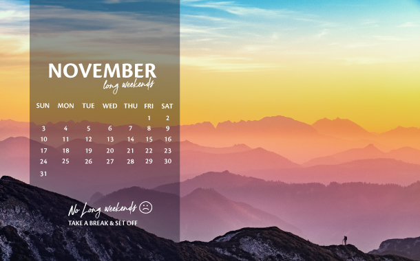 November Long Weekend Planner, 2019
