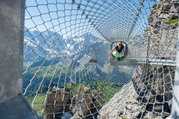 schilthorn, wire rope bridge