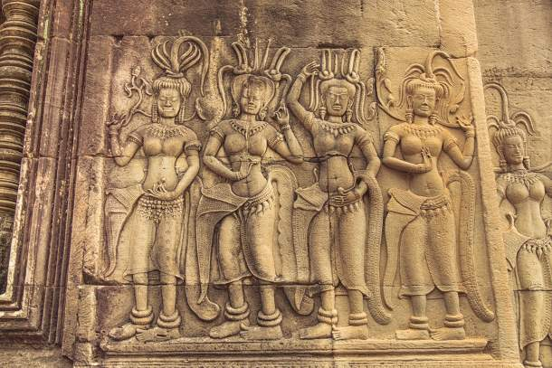 Stone bas relief  with maidens and temple dancers