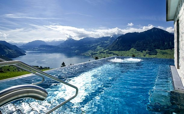Swimming Pool at Hotel Villa Honegg, Switzerland
