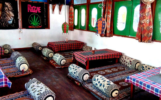 The interiors of the free Kasol Cafe, Kasol