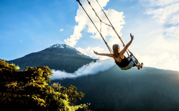 The Swing At The End Of The World in Banos, Ecuador