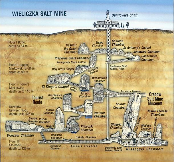 Underground salt mine map