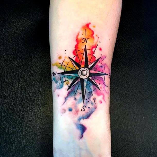 Watercolour compass tattoo