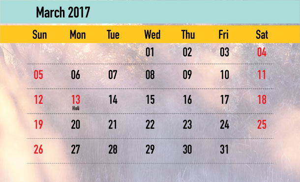 Weekend Calendar - March