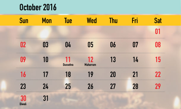 Weekend Calendar - October